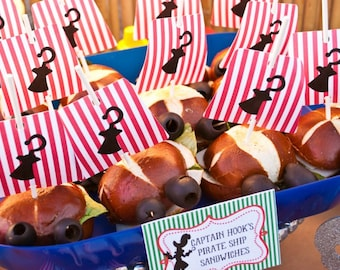 Pirate Flags Sandwich topper - Hook flags - Peter Pan Party - printable file - PDF