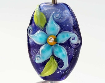 Purple Floral Lampwork Glass Focal Bead with Cubic Zirconia