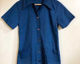 Vintage Blue French Smock Workwear Shirt // 50s Tunic Minidress Short Sleeve Button Down Collar Work Shirt Painter