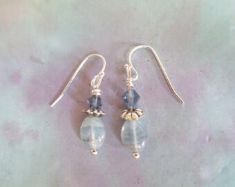 Womens Silver and Blue Swarovski Crystal Delightful Earrings, Girls Drop Earrings, Womens Dangle Earrings, Feminine Earrings, Womens Present