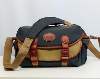 Retro Canon Leather and Fabric Camera Bag / Holdall / Case - Ideal For SLR / DSLR - Green and Beige