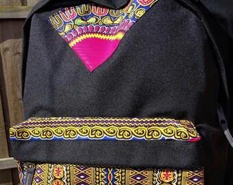 African inspired dashiki backpack (black)