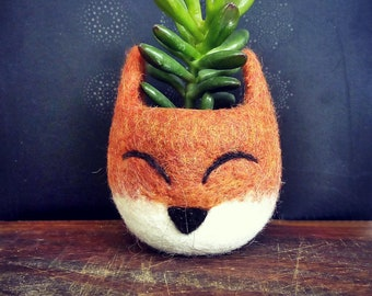 Succulent planter, Succulent pots, rustic home decor, Gift for her, Animal planter, dorm decor, Fox planter, Cactus mini planters, kids room