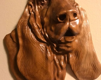 Basset Hound 3-D carving Cherry wood
