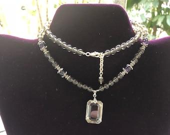 Smokey quartz and amethyst necklace