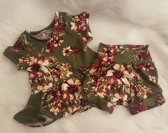 Olive peplum and shorties set