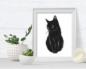 Cat Portrait - Cat Art Print - pet portrait - black cat - cat art print - kitten print - ideal for cat lovers