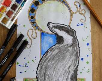 Moongazing Badger, original art, OOAK, badger, Art Nouveau