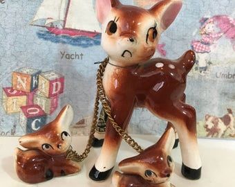 VERY RARE Vintage Antique Sad Faced Spotted Mama Doe Deer and Babies Fawn Family Collectible Figurines or Cake Toppers