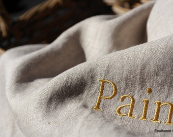 Handcrafted Natural Linen Bread Bag - with Pain (bread) Lettering