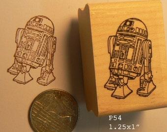 P54 R2D2 robot line art rubber stamp