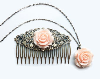 """Peach Rose Matching Set - Hair Comb and 18"""" Necklace"""