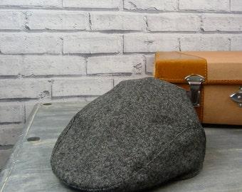 Mens Flat cap - Contemporary Black/Grey Birdseye Yorkshire Tweed, mens hat, mens cap