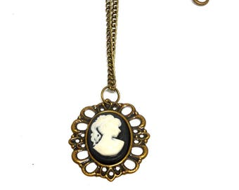 Black and white cameo cabochon necklace