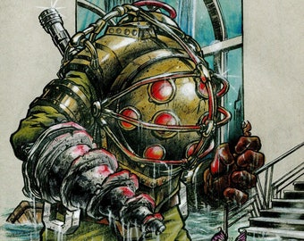 Bioshock Big Daddy original art