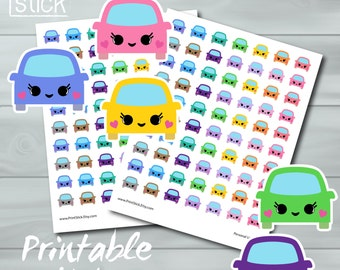 Kawaii Cars Printable Stickers - Perfect for your Erin Condren Planner or any other planner or notebook!