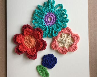 Crochet Mother's Day card with crochet flowers - on Mother's Day with love
