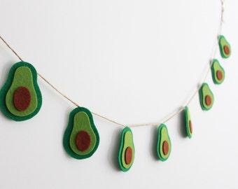 Avocado Garland, Avocado Bunting, Felt Avocado Décor, Avocado Home Décor, Green Felt Banner, Avocado Party Décor
