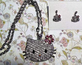 Rhinestone Cat pendant and earrings