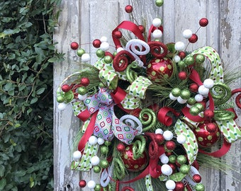Whimsical Christmas Wreath, Traditional Christmas Wreath, Christmas Wreath, Holiday Wreath, Christmas Fireplace Wreath,Christmas door wreath
