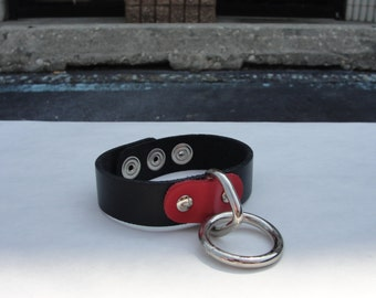 Genuine Leather Black Wristband With Red Tab Halter Ring Oring Triangle Silver/Chrome Nickel Punk Rock Glamor Hipster Handmade USA NYC NB#1