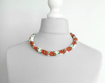 Poppies flower necklace Seed beads beaded Crochet rope Jewelry necklace Summer gift Women beadwork Crochet beading Necklace poppies girls