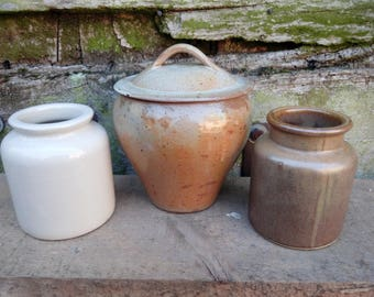 Set of 3 French vintage country pottery, crocks, rustic decor, farmhouse kitchen, mustard pot, garlic pot