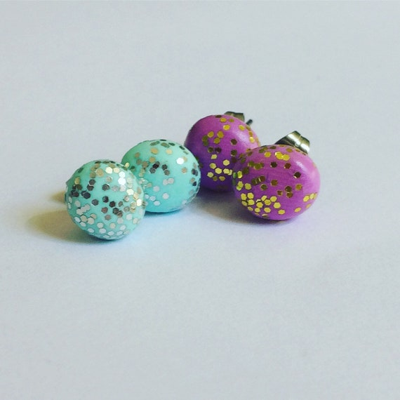 Polymer Clay Round Studs - Glitter - Unicorn - Mint - Pink - Mermaid - Festival - Disco - Stainless Steel - Two Pairs - Hypoallergenic