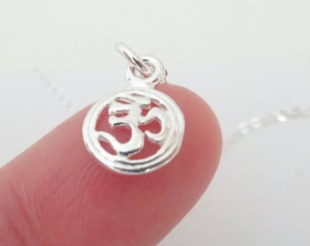 Silver Om Necklace, Yoga Charm, Zen jewelry, Sterling Silver Om Disc pendant, Layering Necklace
