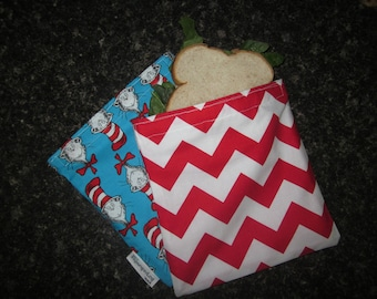 SNACK BAG Waterproof Washable Reusable Snack Bag Red and White Chevron