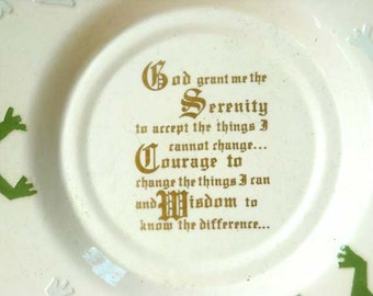 White Earthenware Serenity Prayer Display Plate with Lizard Border