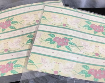 Vintage Wedding Wishes Wrapping Paper~2 Pkgs~2 Sheets in each~Artfaire Gift Wrap~8.3 Sq. Ft in each Pkg~Doves and Flowers