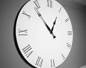 """30"""" Large Wall Clock, Pure White, Solid Wood, Handmade, rustic"""