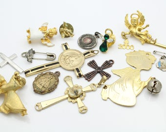 Lot of Vintage Christian Religious Charms and Crosses and Medallions. [11393]