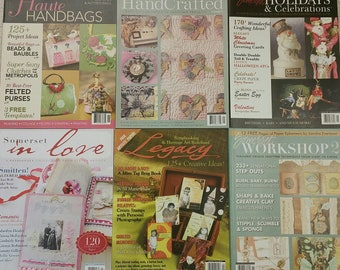 Six Stampington Somerset Magazines. handcrafted. holidays. haute handbags. workshop. legacy art. altered mixed media art. 6 issues for 8.00