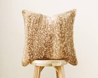 "FAWN FUR - 18x18"" Pillow Cover, Tan/White/Natural"