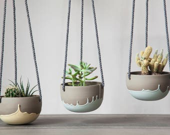Small plant hanger turquoise and grey. Ceramic hanging planter. Cute planter. Cactus, succulent, plant pot