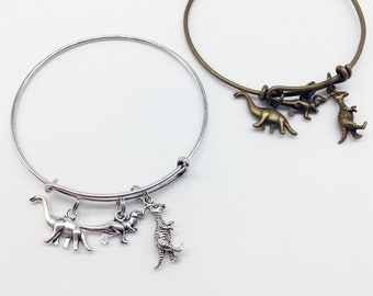 DINOSAUR Bracelet Dinosaur Jewelry Dinosaur Gift Dino Bracelet T-Rex Brontosaurus Dinosaur Pendant Dinosaur Charm Dinosaurs Bangle Bracelet