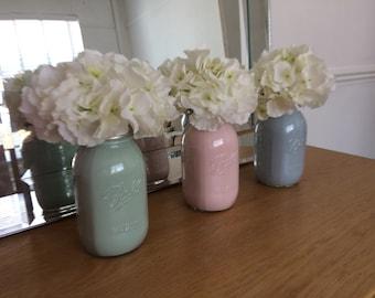 Hydrangea Flower Coloured Mason Jars