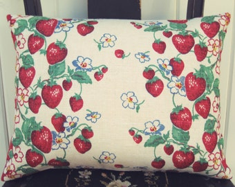 sweet vintage strawberry linen pillow cover 12x16