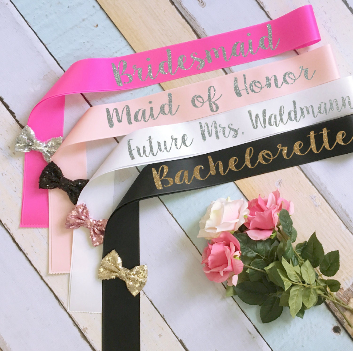 Bridal Party Sashes Bride Sash Bachelorette Wedding
