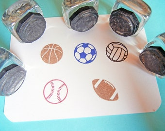 Tiny Sports Balls Rubber Stamp Set / Football, Baseball, Soccer, Volleyball, Basketball -  Set of 5 - Handmade by Blossom Stamps