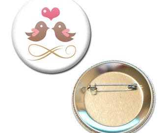 Badge 56 mm - birds in love heart Valentine Heart