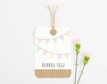 Burlap luggage tag place card