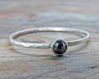 3mm Tiny Rose Cut Black Diamond Promise Ring or Stacking Ring in Sterling Silver - Super Thin Micro Stacker with Smooth or Hammered Band