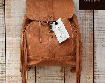 Distressed leather backpack, brown rucksack, brown leather backpack, fringe bags