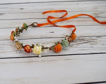 Handcrafted Vintage Style Fall Flower Crown - Orange Ivory Green Tan Red - Adult Flower Crown - Flower Girl Halo - Fall Toddler Crown -Pearl