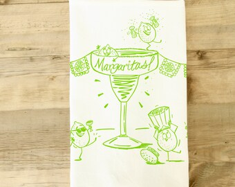 Margaritas Limes Silly Party Tea Towel dish towel Salt lime tequilla party theme kitchen gift