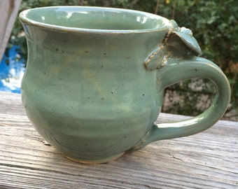 Seafoam Green Rose Handle Mug