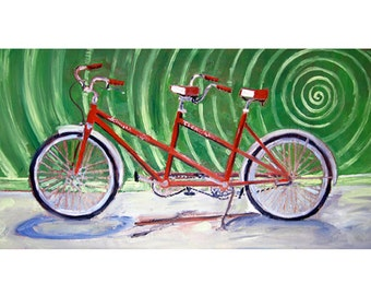 Bicycle Built for Two, Valentine's Day Gift, Wedding Gift, Anniversary Gift, Schwinn Vintage Red Tandem Bicycle Art Print, Gift for Parents